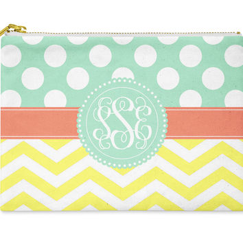 Accessory Bag, Makeup Pouch, Personalized Zippered Pouch - Polka Dots and Chevron