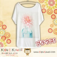 New Flower on Vase Fashionable Loose and High Quality Spring and Summer Tshirt Free Size KK508