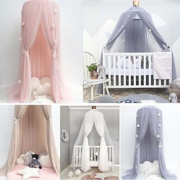 Baby Lace Crib Tent Hung Round Dome Bed Netting Bed Curtain Mosquito Net Kids Room Decoration