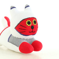 Stuffed Cat Stuffed Animal Cute Plush Toy Cat Kawaii Plushie Buddy the red and white  Cuddly Snuggly SOCK Kitty Cat  (F)  1#