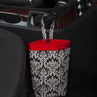Car Trash Bag ~ Black Damask ~ Red Band ~ Gearshift Handle ~ Oilcloth Lining