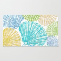 Fossils Sea Shells: Blue Multi Rug by Eileen Paulino
