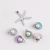 Free Shipping 50PCs Alloy Sea Stars Pendant Charms Acrylic Pearl Paved Shell DIY Floating Necklace Bracelet Keyring Metal Charm
