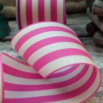 """Striped Ribbon in Pink and Cream - 2.5"""" Wide x 10 yd"""