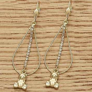 Gold Layered Women Teddy Bear Long Earring, with  Cubic Zirconia, by Folks Jewelry