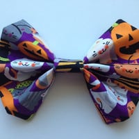 Girl's Halloween Trick or Treat Kitty Cats Fabric Hair Bow