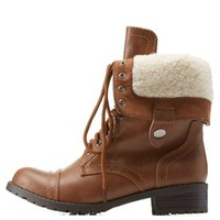 Tan Shearling-Lined Combat Boots by Charlotte Russe