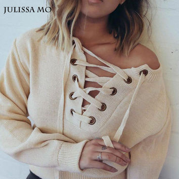 Julissa Mo Sweater Women 2016 Deep V Neck Lace Up Cross Knitted Tops Women Pullover Fluffy Loose Pullover Jumper Street Outwear