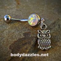 Tiny Owl Glitter Opal White Belly Button Navel Ring 14ga