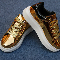 Adult Sports Shoes Sneakers shoes Womens Casual shiny Platform shoes flat shoes patent leather shoes gold, Rose,pinks,red,shiny shoes