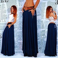 Fashion Long Maxi Skirt Pleated Skirts = 1931440580