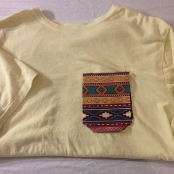 Tribal/Native American/Navajo/Southwestern Print Hipster Custom Made to Order Pocket Tee Shirt