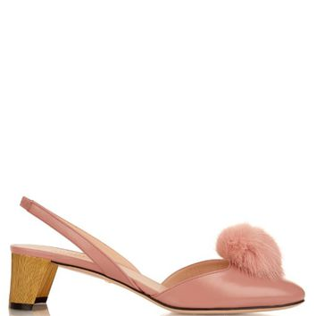 Mink-fur pompom leather pumps | Gucci | MATCHESFASHION.COM US