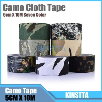 Hlurker 10m Adhesive Cotton Bionic Waterproof Camouflage Cloth Duct Tape Camo Stealth Tape Wrap For Guns Camera Outdoor Tools