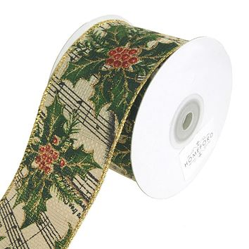 Holly Berry Sheet Music Wired Christmas Holiday Ribbon, 2-1/2-Inch, 10 Yards