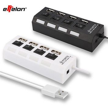 Multi Expansion 4 Ports USB 2.0 On/Off Switch LED Charger