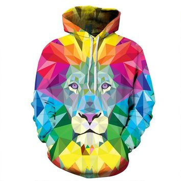Watercolor Colorful Blocks Lion Thin 3D Hoodies Tops