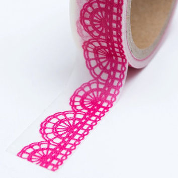Washi Tape - 15mm - Hot Pink Lace Design on White - Deco Paper Tape No. 622