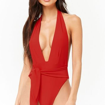 Plunging Belted One-Piece Swimsuit