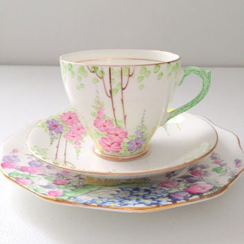 English Fine Bone China Teacup, Saucer and Plate Trio Tea Party
