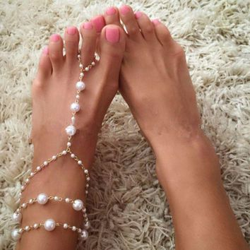 ONETOW Wild pearl anklet handmade beaded with anklet