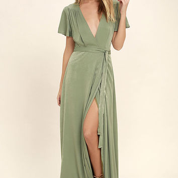 City of Stars Sage Green Maxi Dress