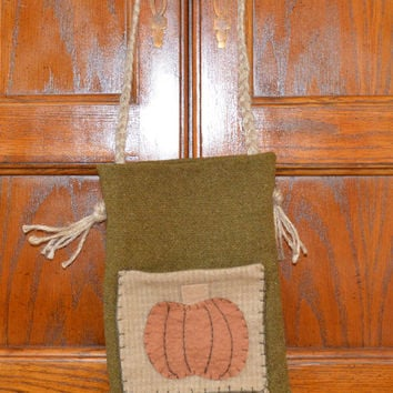 Pumpkin Bag, Ditty Bag, Primitive Tote, Pumpkin Bag,  Rustic Tote, Prim Tote Bag, Primitive Decor, Wool, Pumpkin Decor, Fall Decor, Wool Fel