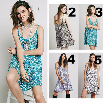Retro Tribal Ethnic Floral Sexy Floral Strap Casual Boho Dress b2775
