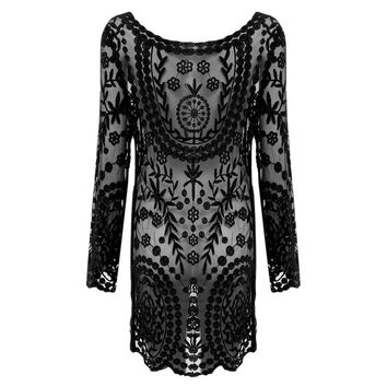 Elegant Round Neck Flare Sleeve Lace Spliced Loose Hollow Dress for Ladies
