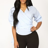 Layloni Long Sleeve Top - Blue/White