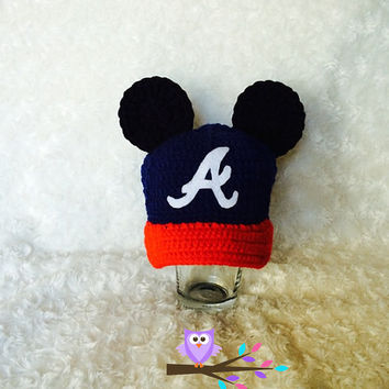 Atlanta Braves Mickey Mouse Inspired Baseball Cap, Hat, and Beanie Photo Prop Newborn-12 Months Size