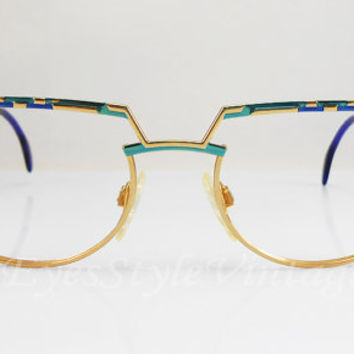 Cazal 265, New Old Stock, Germany, Rare Vintage, Oval, Artistic, Hipsters, Gold and Blue, Unique Nose Bridge, Eyeglasses, Sunglasses, Frames