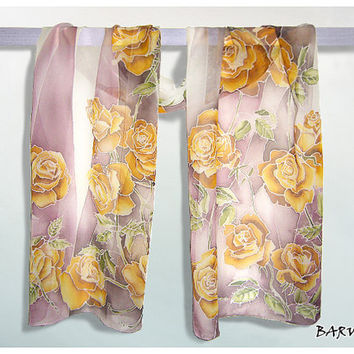 Long silk scarf Roses Silk Scarves handmade & hand painted - gold white pink flowers