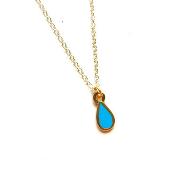 "Tiny Teardrop Necklace on 18"" silver plated Chain"