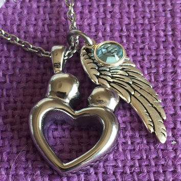 Urn Memorial Cremation Jewelry Necklace - Cremation Urn Necklace - Heart - Infant Loss Memorial Jewelry Miscarriage - Remembrance Necklace -