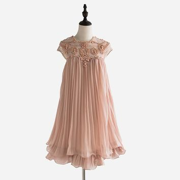 Women Brand Design Vestidos Elegant Party Casual Vintage Apricot Short Sleeve Lace Pleated Ruffled Chiffon Dress D73901J