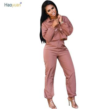 HAOYUAN Fall Winter Tracksuit Women Two Piece Set Long Sleeve Top and Pant Sweat Suit Sexy Jogger 2 Piece Outfits Matching Sets