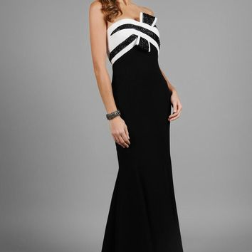 Daymor Couture - Two-Tone Strapless Gown with Bolero 314