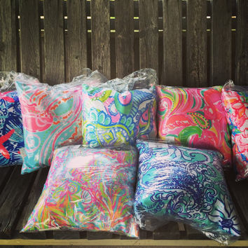 Lilly Pulitzer Inspired 16 x16 Zipperless Throw Pillows
