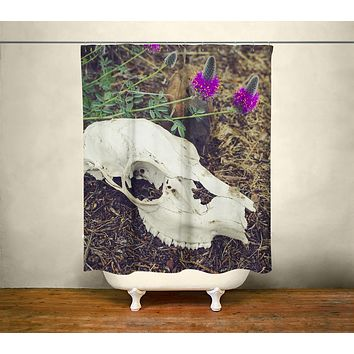 Macabre Skull & Wildflowers Shower Curtain