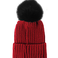 Fox Fur Pom Pom Beanie, Vintage Knit Hat - Burgundy & Black