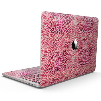 Pink Watercolor Leopard Pattern - MacBook Pro with Touch Bar Skin Kit