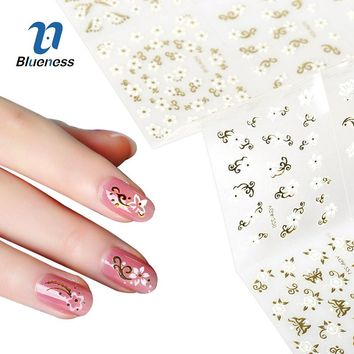 Blueness 24 Pcs/Pack Gold Mixed Design Nails Decals 3D Nail Stickers Water Transfer Sticker Nail Art Foil Sticker Manicure