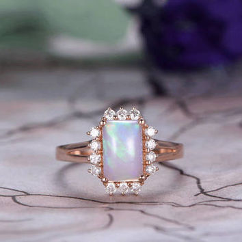 7x9mm Emerald Cut African Opal Engagement Ring,14k Rose Gold band,Anniversary,Halo ring,Plain Band,Ball Prongs,Promise Ring,Gift for her