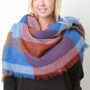 Oversized Color Block Fringe Blanket Scarf