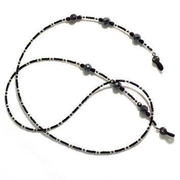 Fancy Eyeglass Lanyard Chain in Black Gunmetal and Silver