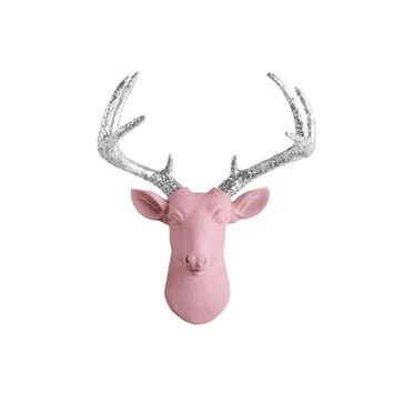 The Mini Virginia | Deer Head | Faux Taxidermy | Pink  + Silver Glitter Antlers Resin