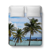 Playa Chen Rio - Duvet Cover, Beach Surf Tropical Palm Trees Decor, Boho Chic Home Decor Coastal Style Bedding. In Twin Full Queen King Size