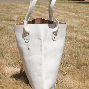 Huge White Leather Monogrammed Tote
