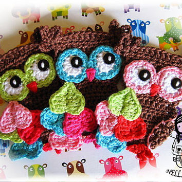 Crochet PATTERN, Applique Magic Owl, from NellagoldsCrocheting on